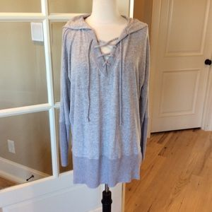 Long Sleeve Hoodie Top Lilac Fog Oversized XS New